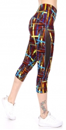 Wholesale E22CBX0 Mesh panel capri activewear leggings BR/YL