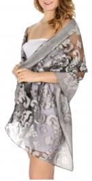 Wholesale D06E Mesh insert filigree vine jacquard scarf Grey