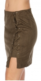 Wholesale I07A Faux suede lace-up skirt Olive