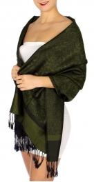 wholesale D33 Whole Jacquard Pashmina 32 Dark Green