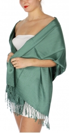wholesale D36 Solid HD Wedding Pashmina 29 Forest Green