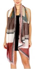 Wholesale O20C Modern pattern scarf w/ alphabet lined edges BG