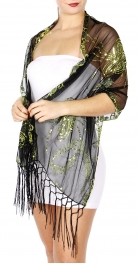 wholesale I46 Butterfly swirl Sequin Shawl Black Rainbow