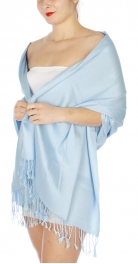 wholesale D36 Solid HD Wedding Pashmina 22 Lite Blue