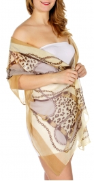 Wholesale D25 Print scarf Belt Camel (SZP012-B-3)