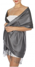 wholesale D45 Silky Solid Wedding Pashmina 36 New Grey