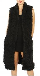 Wholesale M21A Fur long open vest Black