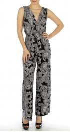wholesale K16 Paisley print jumpsuit Black S fashionunic