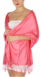 wholesale D36 Solid HD Wedding Pashmina 17 Coral