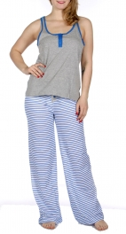 Wholesale F13 Solid tank & striped pants pj set Heather Grey