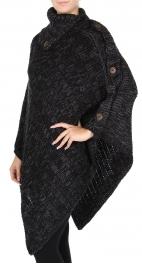 Wholesale S31 Button detail knit poncho Black