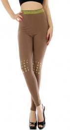 wholesale M80 Square stud knee leggings Brown