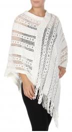 Wholesale Q51C Lightweight fringe poncho White