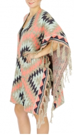 Wholesale S07C Tribal printed fringed hem Cape