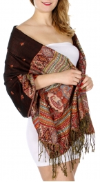 wholesale D08 Rainbow Paisley Thick Pashmina Shawl Black