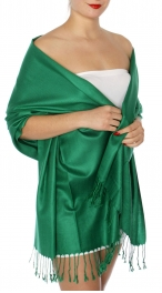 wholesale D45 Silky Solid Wedding Pashmina 57 Forest
