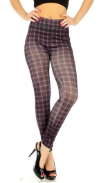 wholesale A11 Checkered cotton leggings Black/Purple
