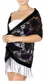 wholesale Metallic leaf velvet scarf Green/Gray