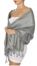 wholesale D45 Silky Solid Wedding Pashmina 22 N Grey