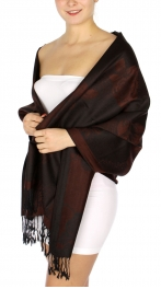 wholesale D25 Flower garden Pashmina Shawl Brown