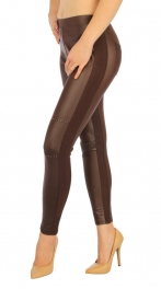 wholesale F14 Knee patch liquid leggings Coffee S/M