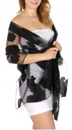 Wholesale D06E Mesh insert paisley & blossom jacquard scarf Black