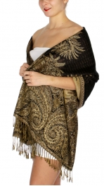 wholesale D38 Big Paisley Pashmina 01 Cream Dark Brown