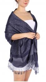 wholesale D37 Whole Jacquard Pashmina 91 Midnight Blue