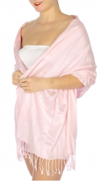 wholesale D36 Solid HD Wedding Pashmina 32 Pale Pink