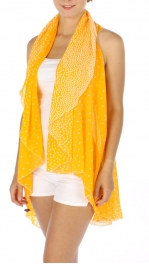 wholesale H45 Chiffon polka dot ruana Orange/White