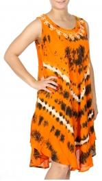 Wholesale K62D Neck embroidery circular tie dye batik dress PLUS SIZE BLUE