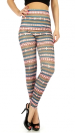 wholesale A25 Abstract striped cotton leggings Pink
