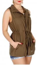 Wholesale J08A Drawstring cargo vest Olive