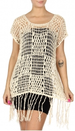 Wholesale S57C Hand-crocheted short sleeve tunic Natural