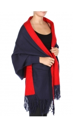 Wholesale T78A Reversible fringe shawl BK/GY