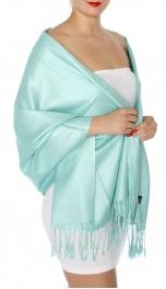 wholesale D45 Silky Solid Wedding Pashmina 21 L Cyan