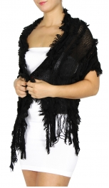 Wholesale P15E Fringes All Over Light Scarf BK