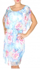 Wholesale S85A Cotton blend V-back floral dress