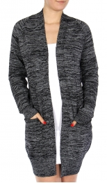 Wholesale P02A Open front marled cardigan Black