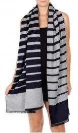 Wholesale Q80C Cotton blend thin stripe shawl NV/MT