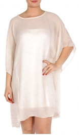 Wholesale H14 Pleated sheer poncho Beige