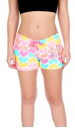 """Wholesale T87C Multi color hearts print plush PJ shorts w/ """"LOVE"""" Sequin Applique"""