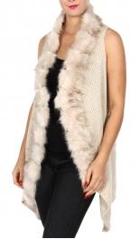Wholesale Y24A Faux fur trim woven vest BEG
