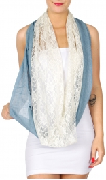 Wholesale I39A Two tone mesh and lace infinity scarf Dozen