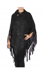 Wholesale Q25 Buttoned neck knit poncho Black