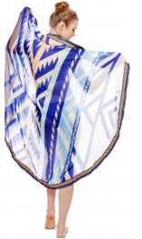 Wholesale I39D Simple tribal print round beach blanket & shawl w/ fringe