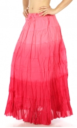Wholesale K56 Gradation tiered cotton long skirt Lavender