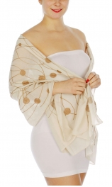 Wholesale I00D Abstract circles & lines embroidered scarf IV