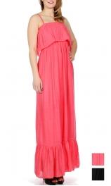 Wholesale G46B Gauzed solid maxi dress w/ flare bottom