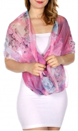 Wholesale-H43A Rose & lily infinity scarf FS
